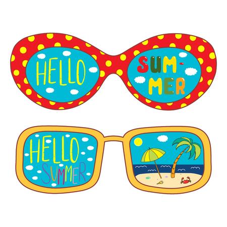Bergeben Sie gezogene Vektorillustration der übergroßen Sonnenbrille, mit Text hallo Sommer, die Strandszene, die innerhalb der Linsen reflektiert wird. Isolierte Objekte auf weißem Hintergrund. Design-Konzept für den Wechsel der Jahreszeiten. Standard-Bild - 95557794