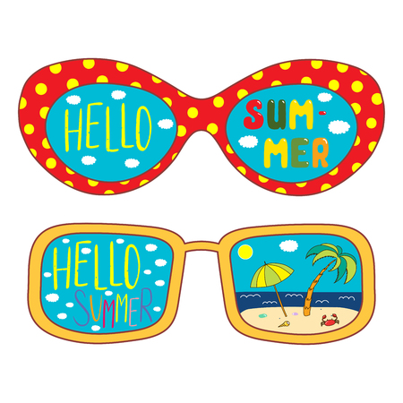 Hand drawn vector illustration of oversized sunglasses, with text Hello Summer, beach scene reflected inside the lenses. Isolated objects on white background. Design concept for change of seasons.