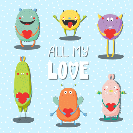 Collection of hand drawn cute funny cartoon monsters holding hearts, with text All my love. Isolated objects  Vector illustration.