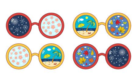 Hand gezeichnete Vektorillustration von den Sonnenbrillen mit vier Elementen , die in der Linse lokalisiert werden . Lokalisierte Objekte auf weißem Hintergrund . Design-Konzept für die Dekoration der Jahreszeiten Standard-Bild - 95612115
