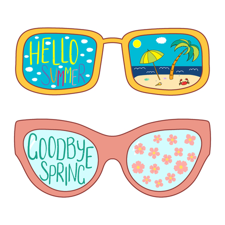 Hand drawn vector illustration of glasses with text Hello Summer, Goodbye Spring, cherry blossoms, beach scene in the lenses. Isolated objects on white background. Design concept for change of seasons Standard-Bild - 95612114