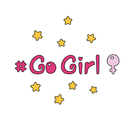 Hand drawn quote Go girl, with stars, Venus mirror. Isolated objects on white background. Vector illustration. Design concept feminism, international women day.