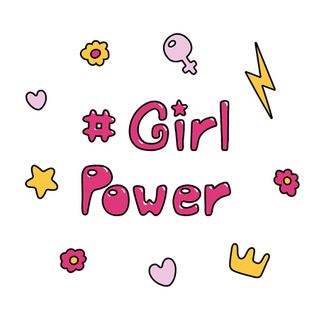 Hand drawn quote Girl power, with flowers, hearts, star, lightning bolt, golden crown, Venus mirror.