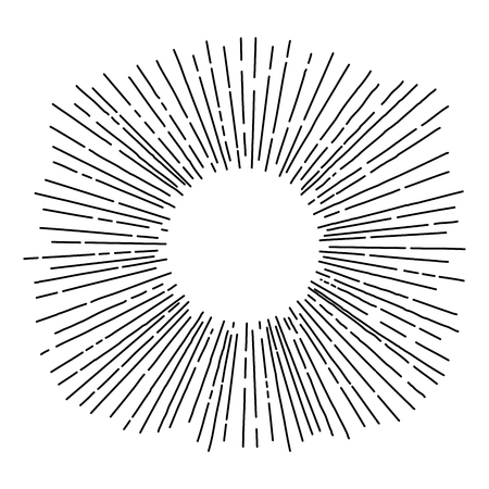 Hand drawn sun rays in vintage style. Isolated objects. Black and white vector illustration. Line drawing. Radial frame. Vectores