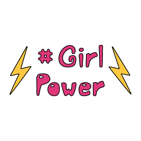 Hand drawn quote Girl power, with lightning bolts.