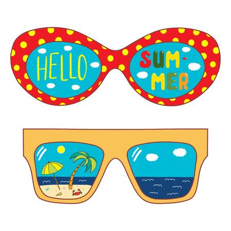 Bergeben Sie gezogene Vektorillustration der übergroßen Sonnenbrille, mit Text hallo Sommer, die Strandszene, die innerhalb der Linsen reflektiert wird. Isolierte Objekte auf weißem Hintergrund. Design-Konzept für den Wechsel der Jahreszeiten. Standard-Bild - 95746018