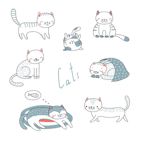 Collection of hand drawn different cute funny cartoon cat doodles, in black and white. Isolated objects on white background. Vector illustration. Design concept for children. Ilustração