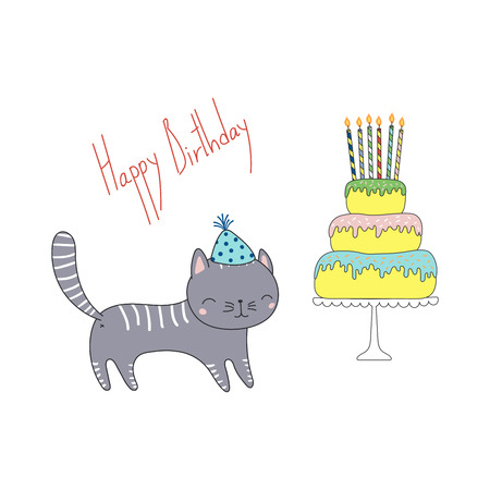 Hand drawn Happy Birthday greeting card with cute funny cartoon cat in a party hat, cake on a cake stand, text. Isolated objects on white background. Vector illustration. Design concept for kids. Stock Illustratie