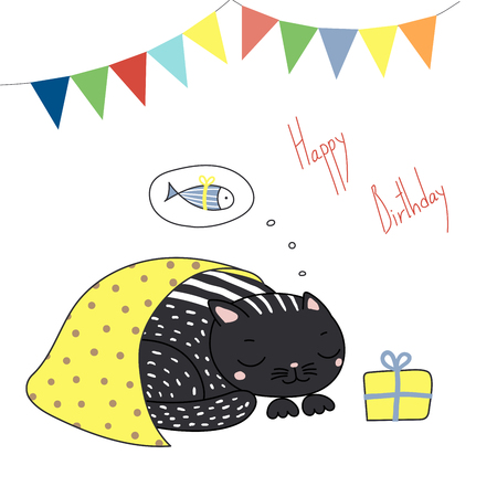 Hand drawn Happy Birthday greeting card with cute funny cartoon cat sleeping under blanket, dreaming of fish, text. Isolated objects on white background. Vector illustration. Design concept for kids.