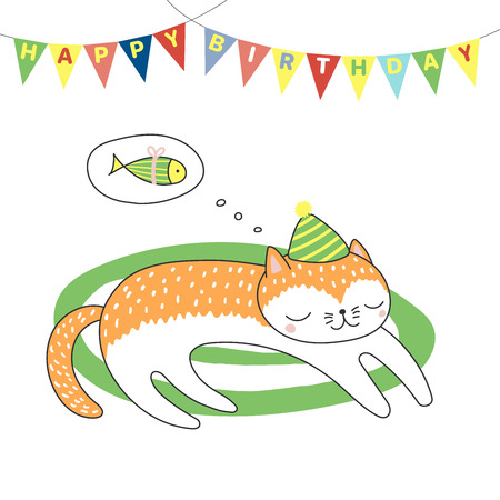 Hand drawn Happy Birthday greeting card with cute funny cartoon cat sleeping on a rug, dreaming of fish, text. Isolated objects on white background. Vector illustration. Design concept for kids. Illustration
