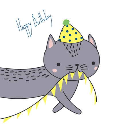 Hand drawn Happy Birthday greeting card with cute funny cartoon cat with a in a party hat, carrying bunting, text. Isolated objects on white background. Vector illustration. Design concept for kids. Stock Vector - 95982001