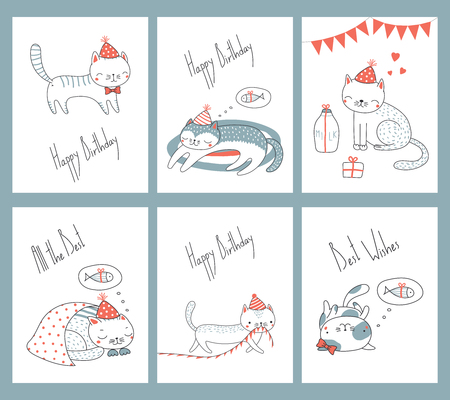 Set of hand drawn ready to use birthday cards templates with cute funny cartoon cats in party hats, typography. Vector illustration. Design concept for children, celebration.