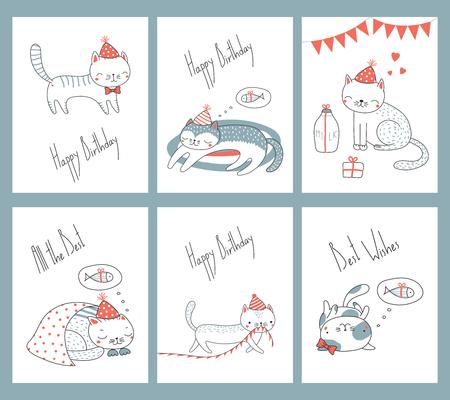 Conjunto de plantillas de tarjetas de cumpleaños listas para usar dibujadas a mano con lindos gatos divertidos dibujos animados con sombreros de fiesta, tipografía. Ilustración vectorial Concepto de diseño para niños, celebración. Ilustración de vector