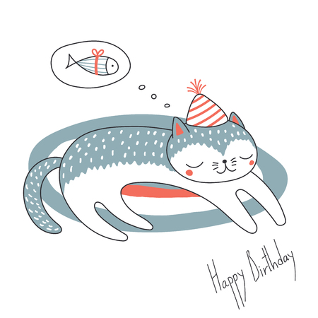 Hand drawn Happy Birthday greeting card with cute funny cartoon cat sleeping on a rug, dreaming of fish, text. Isolated objects on white background. Vector illustration. Design concept for kids. Ilustração