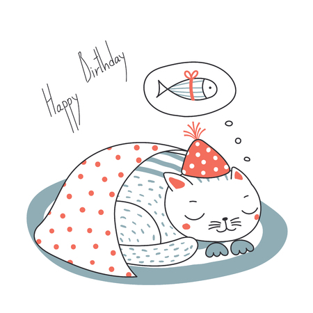 Hand drawn Happy Birthday greeting card with cute funny cartoon cat sleeping on a rug, dreaming of fish, text. Isolated objects on white background. Vector illustration. Design concept for kids. Illusztráció