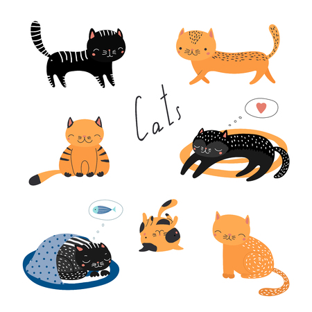 Collection of hand drawn different cute funny cartoon cat doodles. Isolated objects on white background. Vector illustration. Design concept for children.