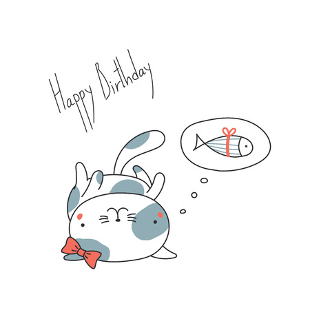 Hand drawn Happy Birthday greeting card with cute funny cartoon cat with a ribbon lying on its back, thinking of fish. Isolated objects on white background. Vector illustration. Design concept kids. Ilustração