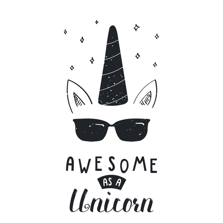 Hand drawn vector portrait of a cool unicorn in sunglasses, with lettering Awesome as a unicorn. Çizim
