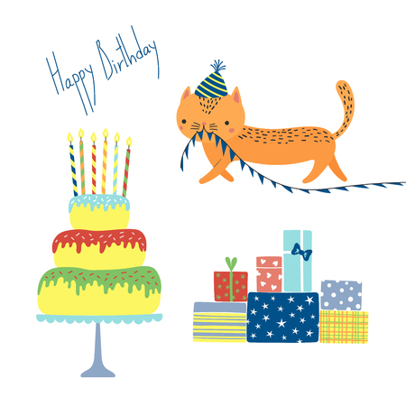 Hand drawn Happy Birthday greeting card with cute funny cartoon cat with a in a party hat, cake, presents, text. Isolated objects on white background. Vector illustration. Design concept for kids. Illustration