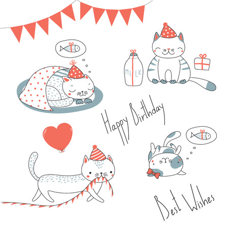 Collection of hand drawn cute funny cartoon cats in party hats, with presents, typography. Isolated objects on white background. Vector illustration. Design concept for children, birthday celebration. Ilustração