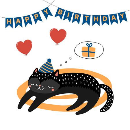 Hand drawn Happy Birthday greeting card with cute funny cartoon cat sleeping on a rug, dreaming of present, text. Isolated objects on white background. Vector illustration. Design concept for kids. Illusztráció