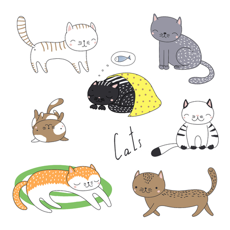 Collection of hand drawn different cute funny cartoon cat doodles. Isolated objects on white background. Vector illustration. Design concept for children. Stok Fotoğraf - 96058886