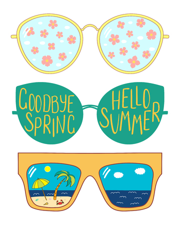 Hand drawn vector illustration of glasses with text Hello Summer, Goodbye Spring, cherry blossoms, beach scene in the lenses. Isolated objects on white background. Design concept for change of seasons Standard-Bild - 96058889