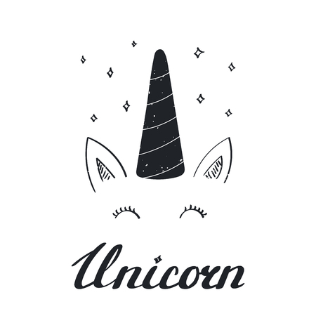 Hand drawn vector portrait of a cute funny unicorn with lettering. Isolated objects on white background. Monochrome vector illustration in vintage style. Design concept for children.  イラスト・ベクター素材
