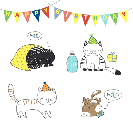 Collection of hand drawn cute funny cartoon cats in party hats, with presents, typography. Isolated objects on white background. Vector illustration. Çizim