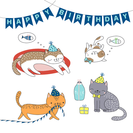 Collection of hand drawn cute funny cartoon cats in party hats, with presents, typography. Stock fotó - 96127225