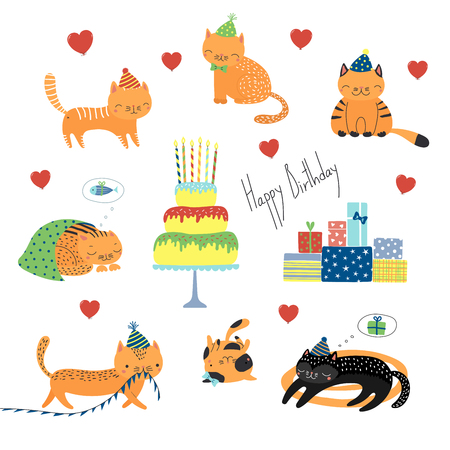 Collection of hand drawn cute funny cartoon cats in party hats, with presents, typography.