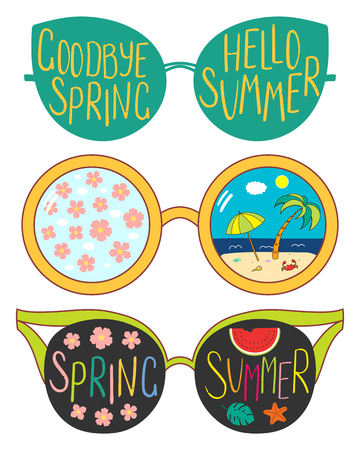 Hand drawn vector illustration of glasses with text Hello Summer, Goodbye Spring, cherry blossoms, beach scene in the lenses. Isolated objects on white background. Standard-Bild - 95922121