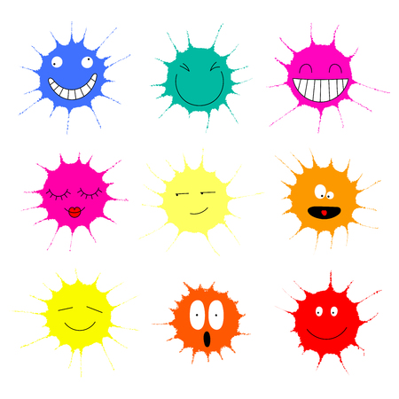 Collection of colorful paint splashes with different funny faces.