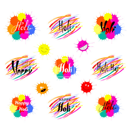 Set of hand written Holi quotes with colorful brush strokes and paint splashes.