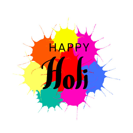 Hand written quote Happy Holi on a background of colorful paint splashes.