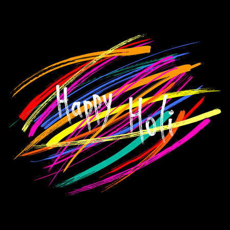 Hand written quote Happy Holi on a background of colorful brush strokes.