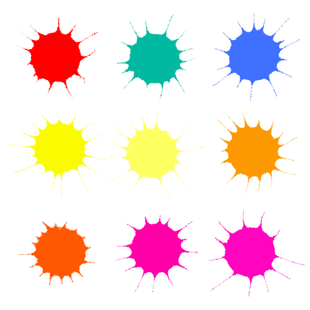 Collection of colorful paint splashes. Isolated objects on white background. Vector illustration. Design elements.