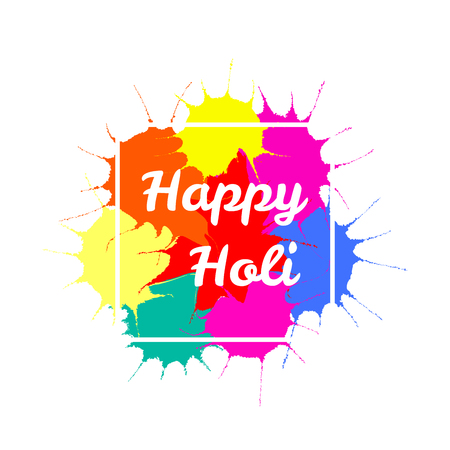Typographic poster with quote Happy Holi on a background of colorful paint splashes.