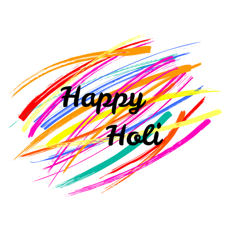 Typographic poster with quote Happy Holi on a background of colorful brush strokes.