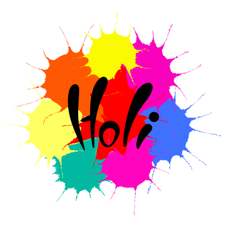 Hand written quote Holi on a background of colorful paint splashes.