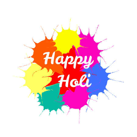 Typographic poster with quote Happy Holi on a background of colorful paint splashes. Isolated objects on white. Vector illustration.