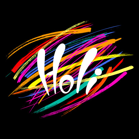 Holi handwritten text with colorful brush strokes background.