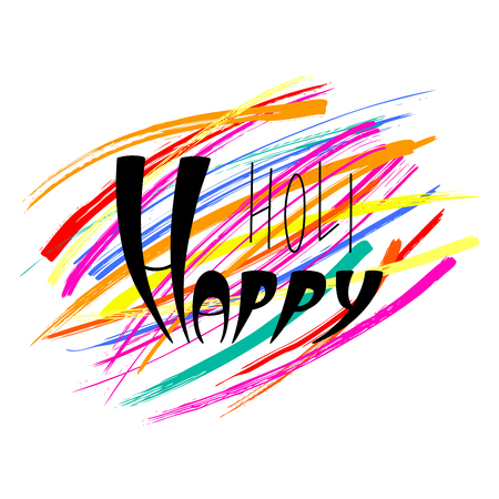 Happy Holi handwritten text with colorful brush strokes background.