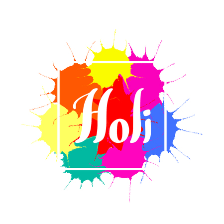 Holi handwritten text with colorful paint splashes background. Ilustração