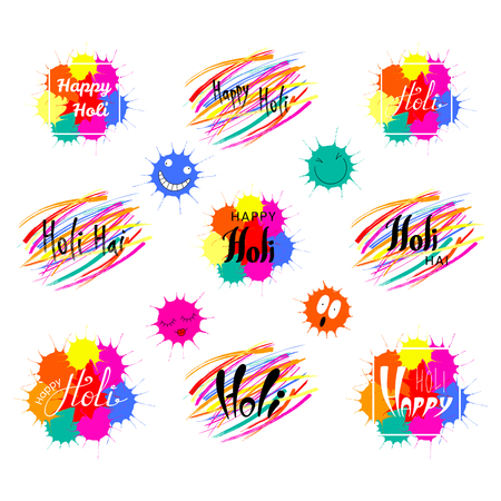 Set of hand written Holi quotes with colorful brush strokes and paint splashes. Isolated objects on white background vector illustration. Design concept for festival of colors, party, celebration.