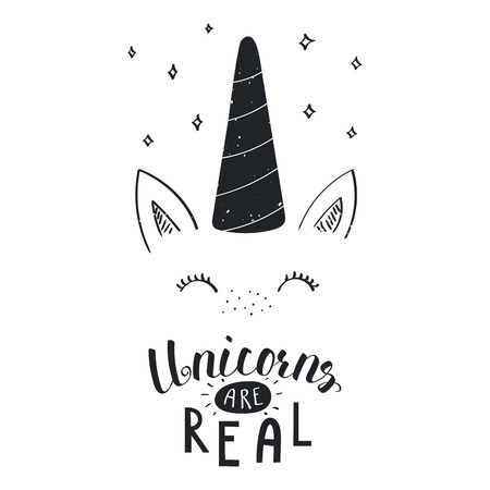 Hand drawn vector portrait of a cute funny unicorn with lettering unicorns are real. Isolated objects on white background monochrome vector illustration in vintage style. Design concept for children.