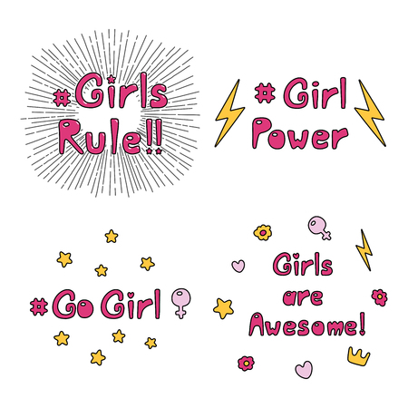 Set of hand drawn quotes about girl power, feminism, with sun rays, flowers, hearts, stars, lightning, crown, Venus mirror. Design concept for womens day.