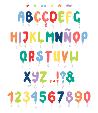 Hand drawn balloons roman alphabet with numbers, punctuation marks, diacritics for Spanish, Italian, Portuguese, French. Make your own lettering. Isolated letters on white. Vector illustration.