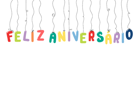 Hand drawn vector illustration with balloons in shape of letters spelling Feliz aniversario (Happy Birthday in Portuguese). Isolated objects on white background. Design concept for kids, celebration. Çizim