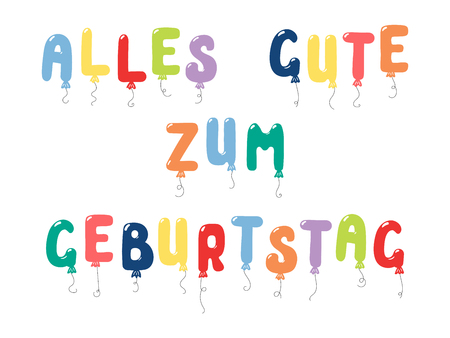 Hand drawn vector illustration with balloons in shape of letters spelling Alles gute zum geburtstag (Happy Birthday in German). Isolated objects on white background. Design concept for children.